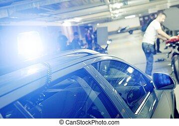 coche azul, sirena, policía