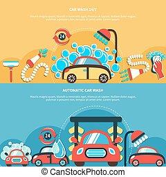 coche, banderas, automático, lavado