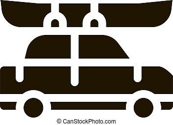 coche, barco, piragüismo, pp de drive, ilustración, vector, ...