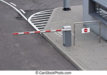 coche, barrera, estacionamiento