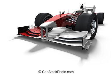 coche, blanco, carrera, -, rojo
