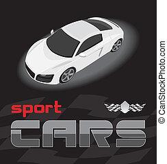 coche., blanco, deporte, diseño, icono