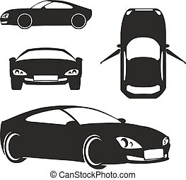 coche, blanco, vector, silueta, aislado