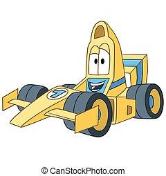 coche, bolide, carreras, caricatura