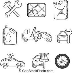 coche, bosquejo, conjunto, servicio, iconos