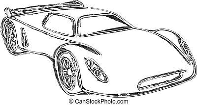 coche, bosquejo, deportes