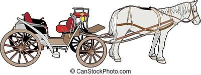 coche, caballo, grande