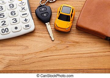 coche, calculadora, madera, llave, plano de fondo