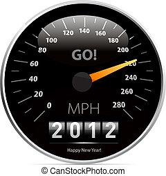 coche, calendario, 2012, velocímetro, año