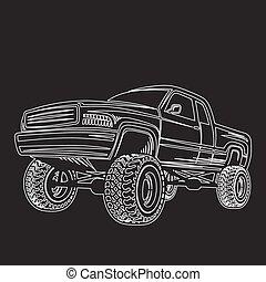coche, camión, 4x4, recolección, off-road