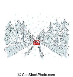coche, camino, su, invierno, bosquejo, diseño, rojo