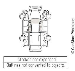 coche, camioneta, dibujo, contornos, no, convertido, a,...