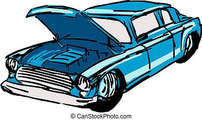 coche, capucha abierta