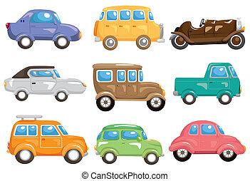 coche, caricatura, icono