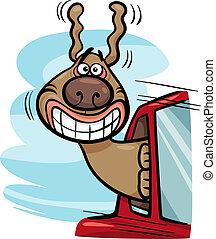 coche, caricatura, ilustración, perro