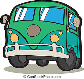 coche, caricatura, minivan