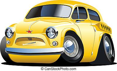 coche, caricatura, retro