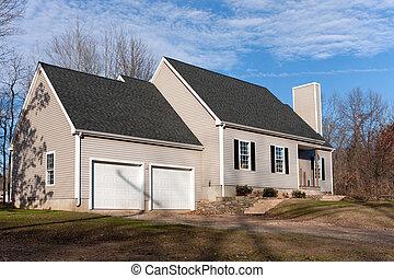 coche, casa, 2, vinilo, sided, garaje