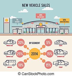 coche, centro, ilustración, infogr