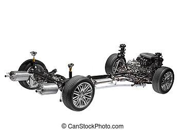 coche, chasis, con, engine.