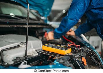 coche, cheques, electricista, nivel, batería