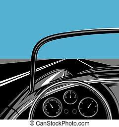 coche, cielo, viajar, ilustración, camino