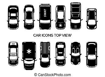 coche, cima, iconos, vista