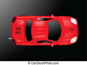 coche, cima, -, ilustración, vector, vista
