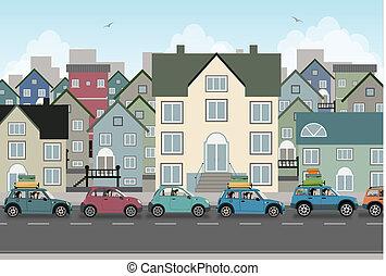 coche., ciudad