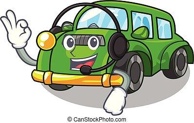 coche clásico, auricular, forma, juguetes, caricatura