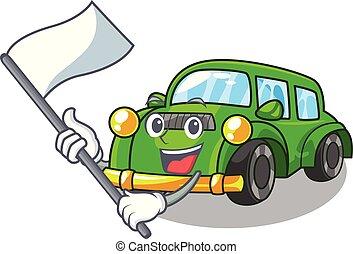 coche clásico, bandera, forma, juguetes, caricatura