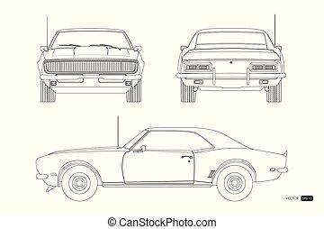 coche., clásico, espalda, automóvil, norteamericano, ...