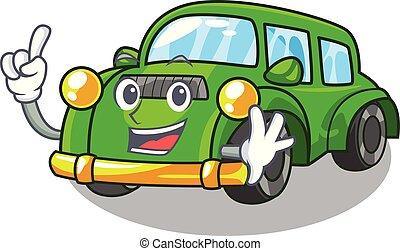 coche clásico, forma, dedo, juguetes, caricatura
