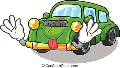 coche clásico, forma, juguetes, lengua, caricatura, afuera