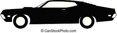 coche clásico, grayscale, 1970, vista lateral