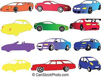 coche, colección, en, diferente, color