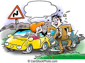 coche, colisión, entre, dos, automovilistas