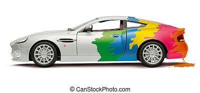 coche, coloreado