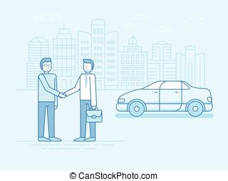 coche, compartir, concepto, -, nuevo modelo, de, alquiler de coches, servicio