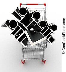 coche, compras, metal, perfiles, su