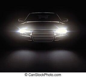 coche, con, luces