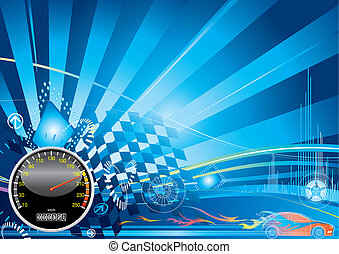 coche, concepto, carreras