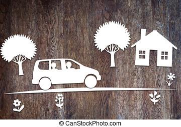 coche, concepto, familia, Manejar
