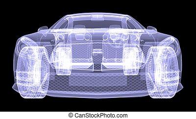 coche, concepto, radiografía