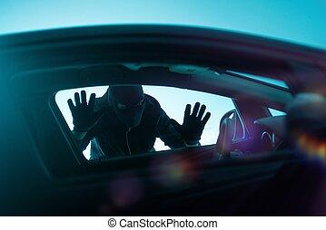 coche, concepto, robo