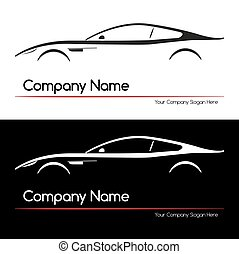 coche, concepto, silueta