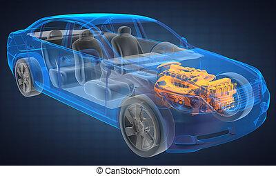 coche, concepto, transparente