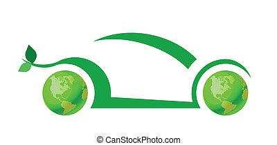 coche, concepto, verde