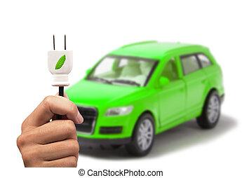 coche, concepto, verde, eléctrico