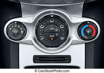 coche, condicionamiento, controles, aire